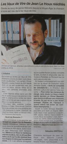 Chansons bachiques de Jean Le Houx Éditions Lurlure Ouest France